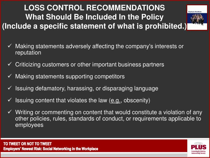 LOSS CONTROL RECOMMENDATIONS