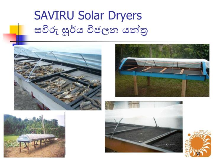 SAVIRU Solar Dryers
