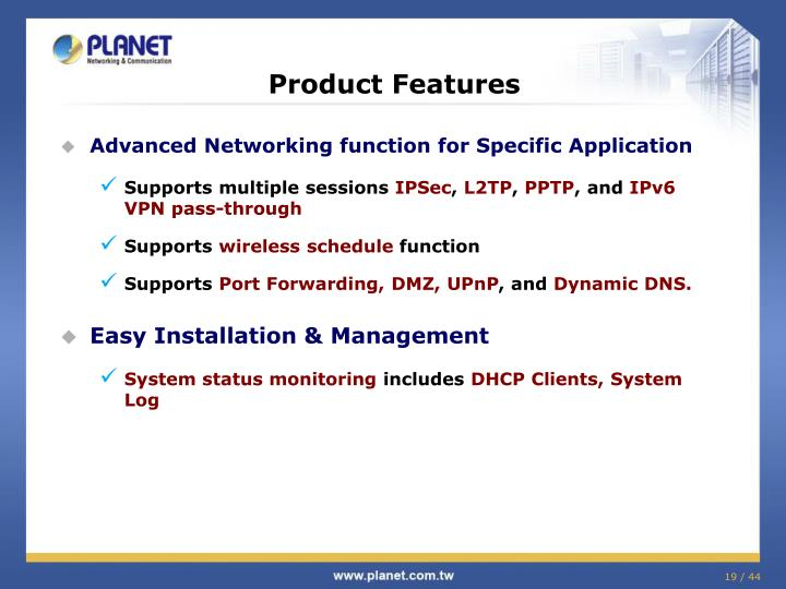 Advanced Networking function for Specific Application