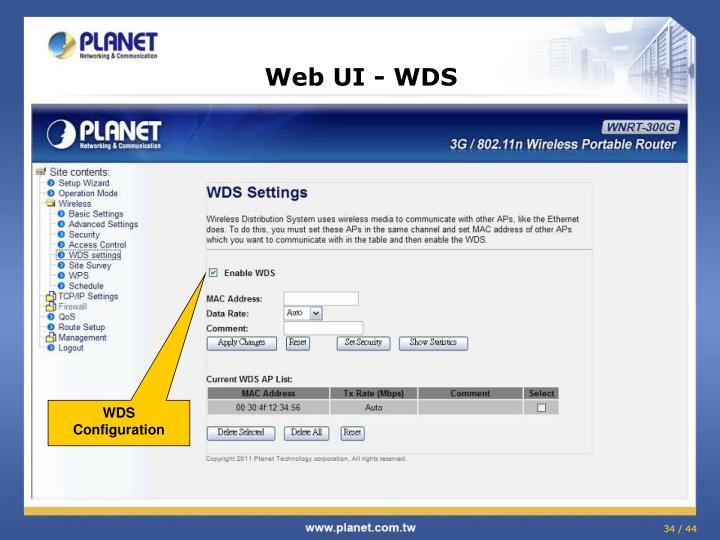 Web UI - WDS