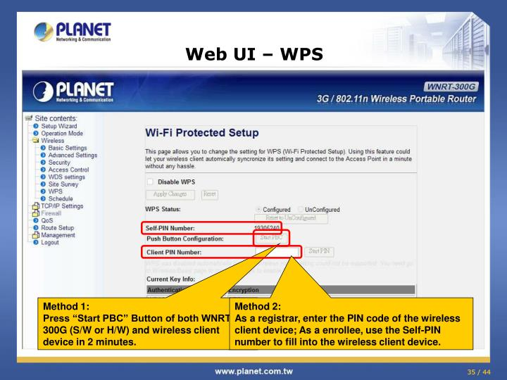 Web UI – WPS