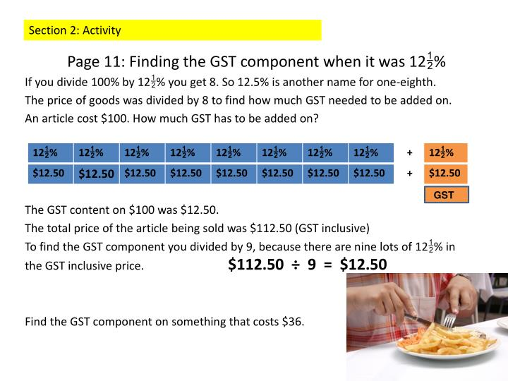 Page 11: Finding the GST component when it was 12