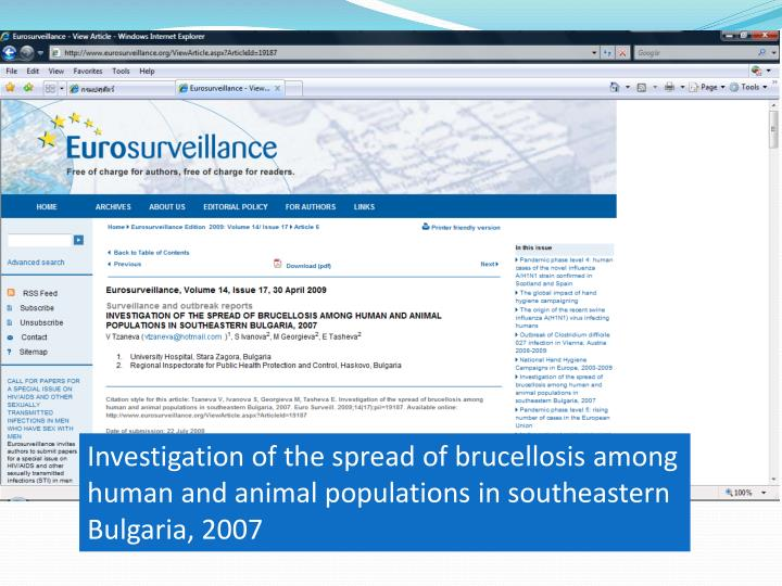 Investigation of the spread of brucellosis among human and animal populations in southeastern Bulgar...