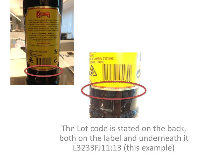 The lot code is stated on the back both on the label and underneath it l3233fj11 13 this example