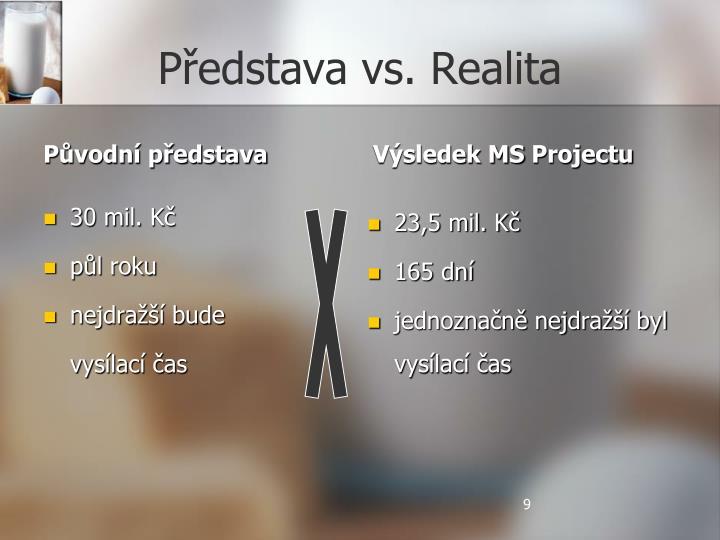 Představa vs. Realita