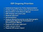idp ongoing priorities