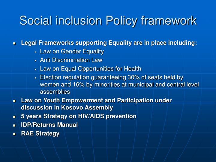 Social inclusion Policy framework
