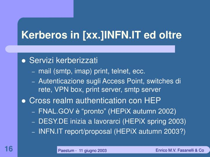 Kerberos in [xx.]INFN.IT ed oltre
