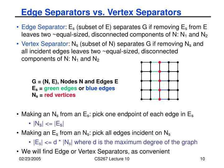 Edge Separators vs. Vertex Separators
