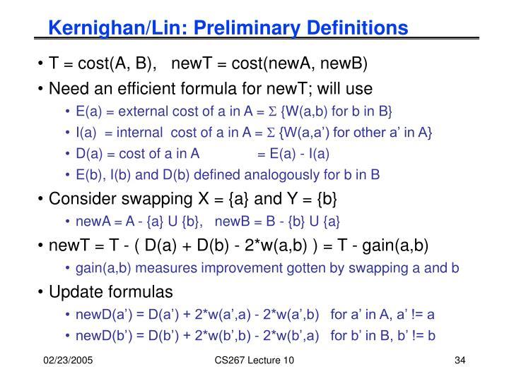 Kernighan/Lin: Preliminary Definitions