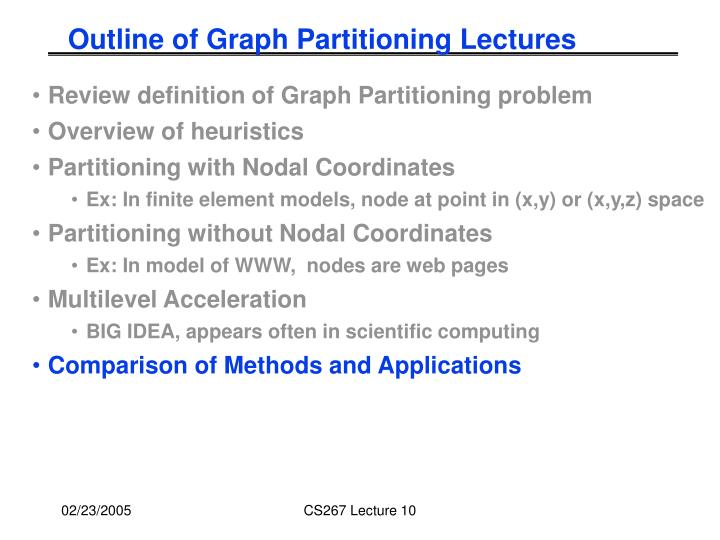 Outline of Graph Partitioning Lectures
