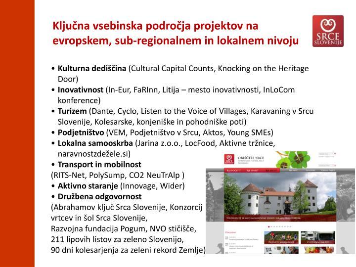 Ključna vsebinska področja projektov na evropskem, sub-regionalnem in lokalnem nivoju