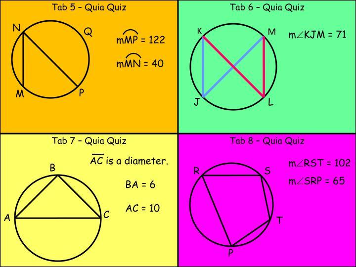 Tab 5 – Quia Quiz