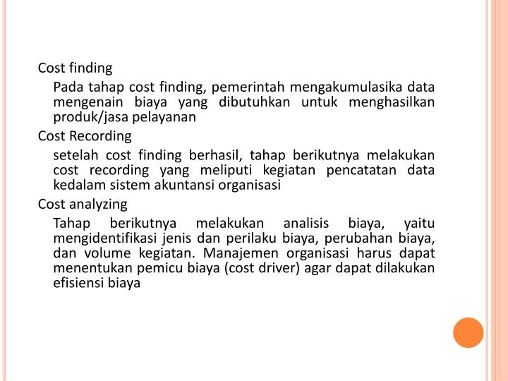 Cost finding
