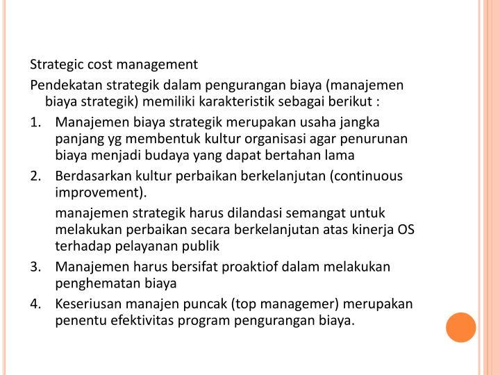 Strategic cost management
