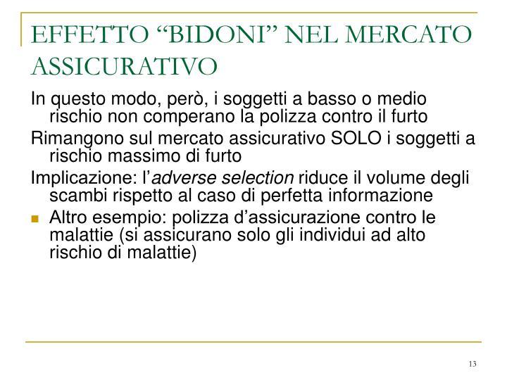 """EFFETTO """"BIDONI"""" NEL MERCATO ASSICURATIVO"""