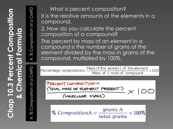 Chap 10.3 Percent Composition & Chemical Formula