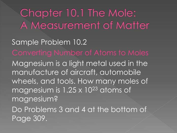 Chapter 10.1 The Mole: