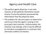 agency and health care