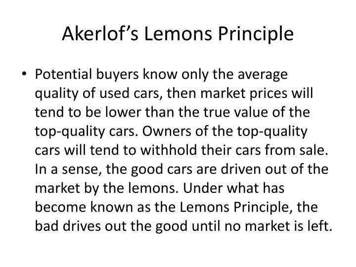 Akerlof's Lemons Principle