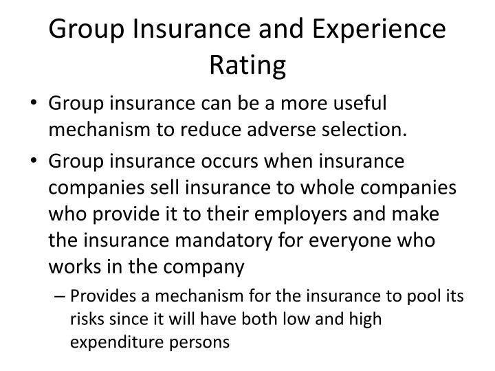 Group Insurance and Experience Rating