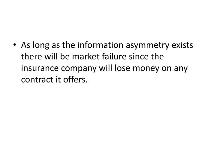As long as the information asymmetry exists there will be market failure since the insurance company will lose money on any contract it offers.