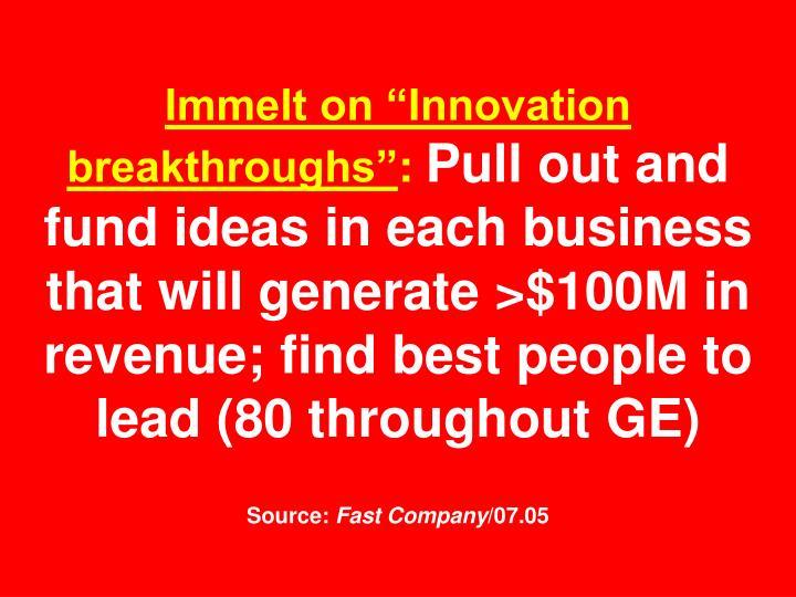"""Immelt on """"Innovation breakthroughs"""""""