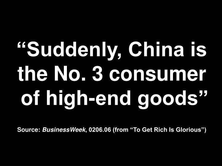 """Suddenly, China is the No. 3 consumer"
