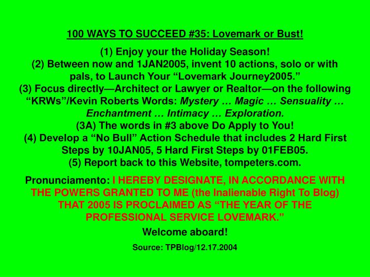 100 WAYS TO SUCCEED #35: Lovemark or Bust!