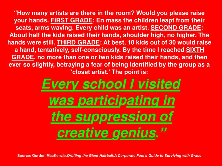 """How many artists are there in the room? Would you please raise your hands."