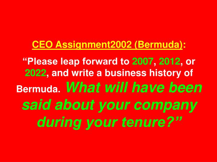 CEO Assignment2002 (Bermuda)