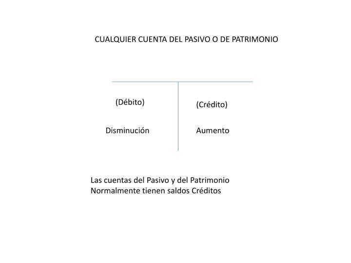 CUALQUIER CUENTA DEL PASIVO O DE PATRIMONIO