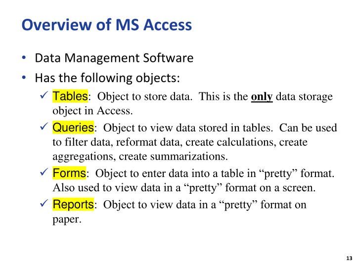 Overview of MS Access