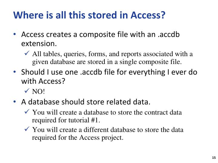 Where is all this stored in Access?