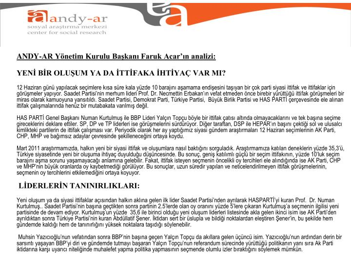 ANDY-AR Yönetim Kurulu Başkanı Faruk Acar'ın analizi: