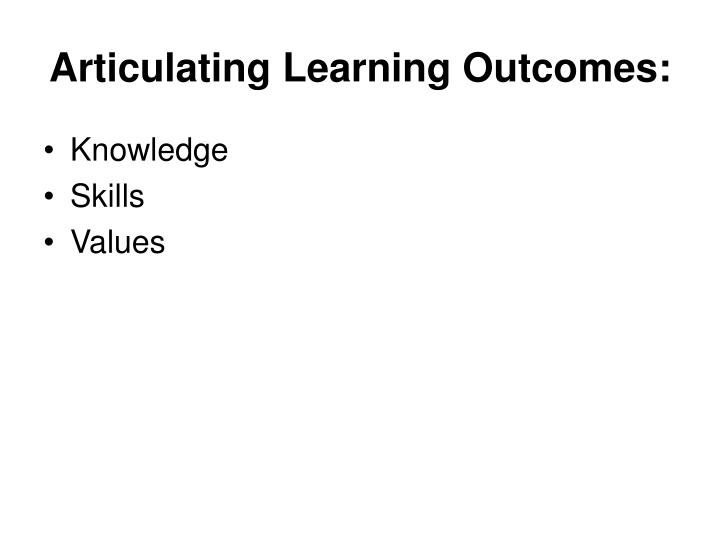 Articulating Learning Outcomes: