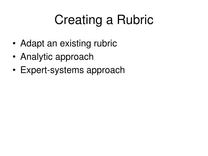 Creating a Rubric