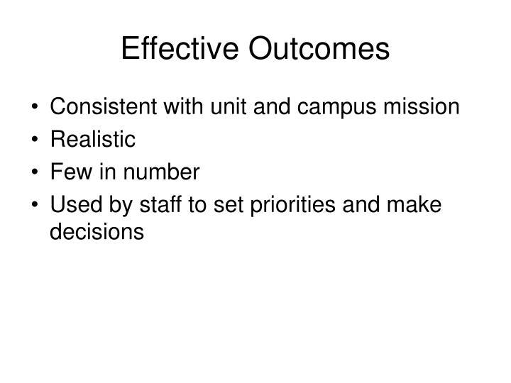 Effective Outcomes