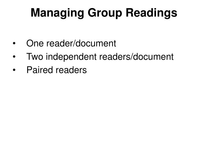 Managing Group Readings
