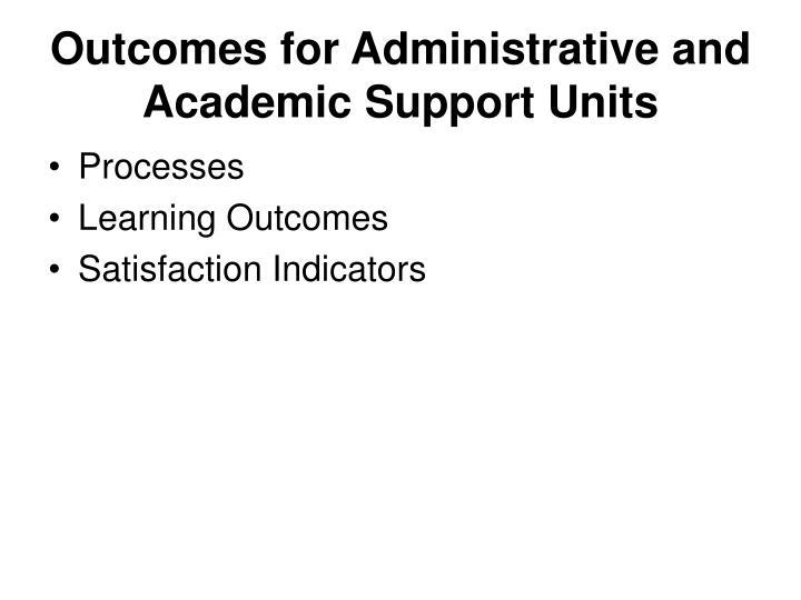 Outcomes for Administrative and Academic Support Units