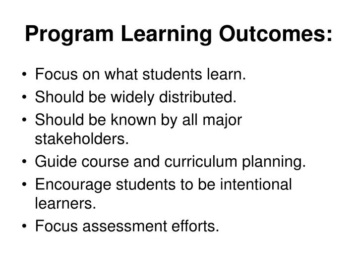 Program Learning Outcomes: