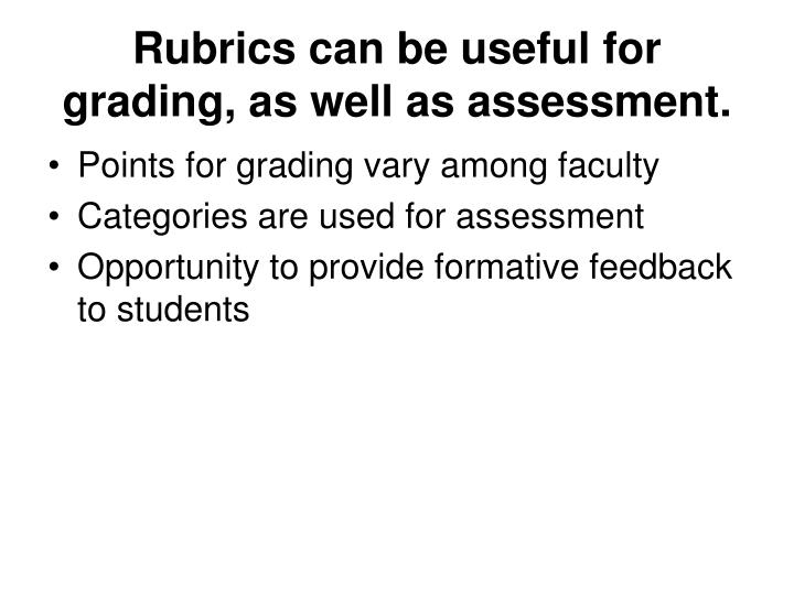 Rubrics can be useful for grading, as well as assessment.