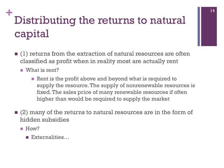Distributing the returns to natural capital