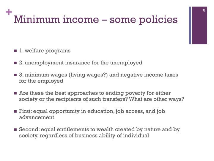 Minimum income – some policies