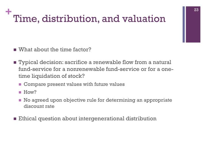 Time, distribution, and valuation