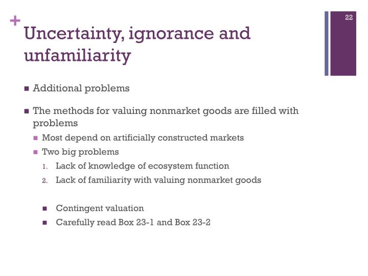 Uncertainty, ignorance and unfamiliarity