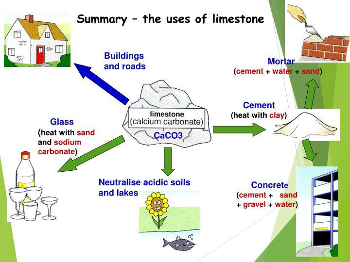 Summary – the uses of limestone