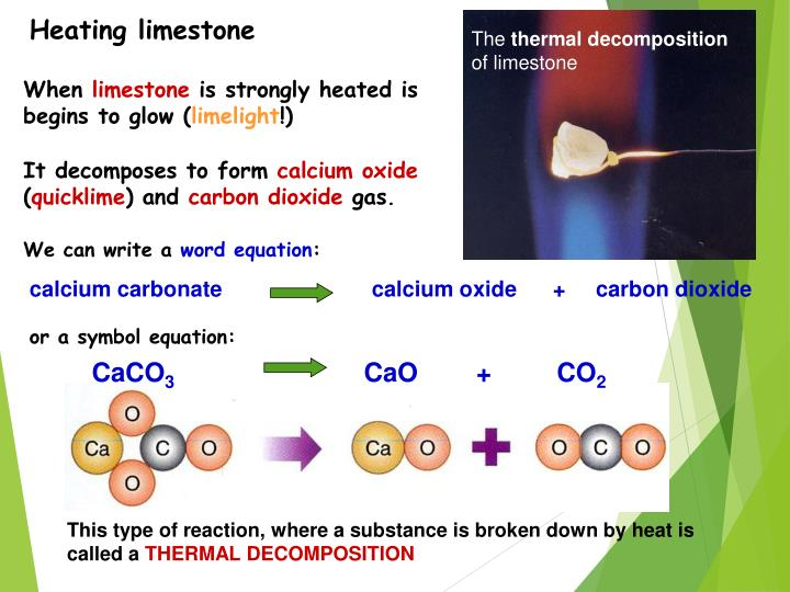 Heating limestone