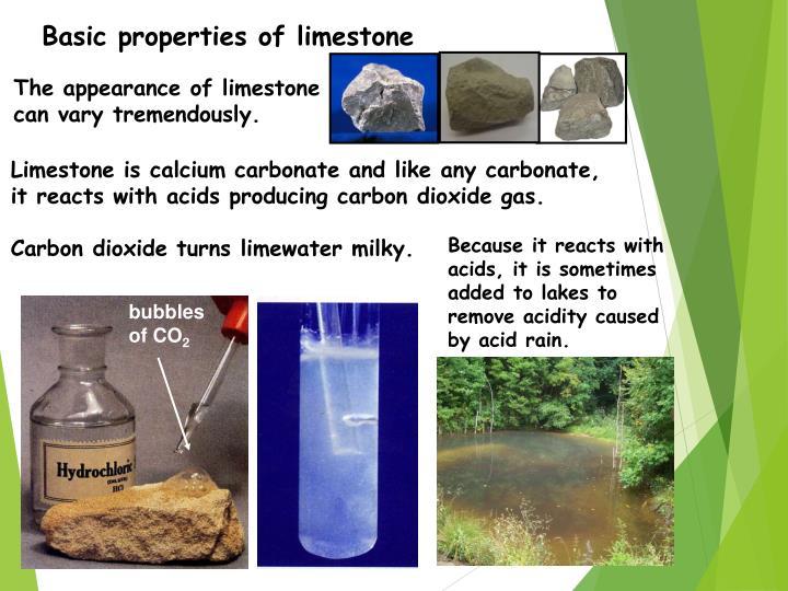 Basic properties of limestone