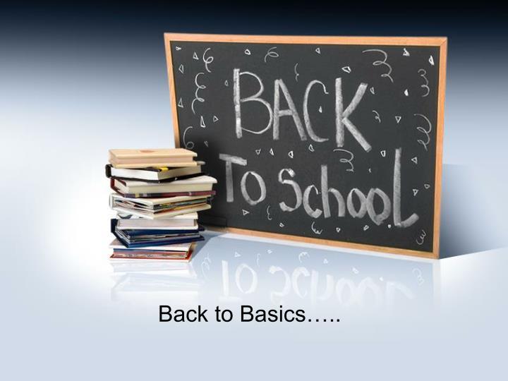 Back to Basics…..
